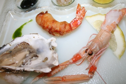 Crudité di Pesce e tempura