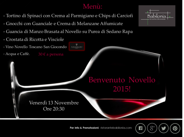 Menù Benvenuto Novello 2015